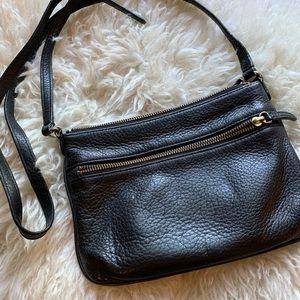Talbots black leather crossbody bag w/zip pockets